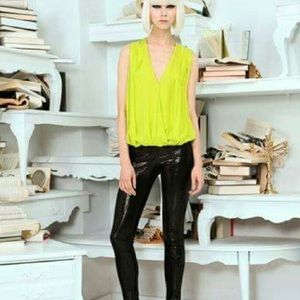 Alice and Olivia neon chartreuse deep v wrap top m